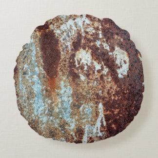 Heavily Rusted Metal Pattern Round Pillow