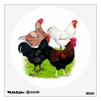 Heavy Breed Rooster Quartet Wall Decal
