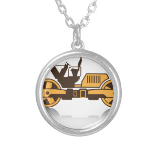 Heavy compactor silver plated necklace