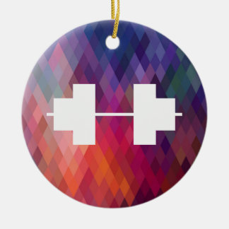 Heavy Dumbbells Symbol Double-Sided Ceramic Round Christmas Ornament