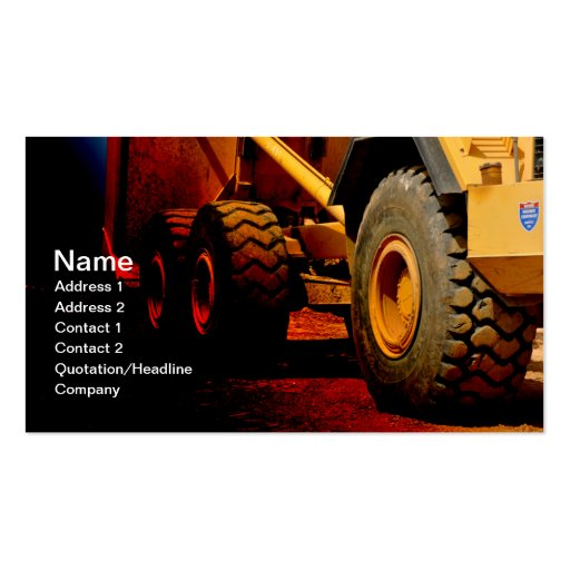 Heavy duty construction equipment double sided standard for Heavy equipment business cards