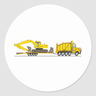 Heavy Duty Dump Truck Crane Classic Round Sticker
