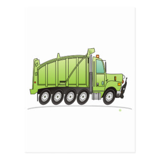 Heavy Duty Dump Truck Green Post Cards