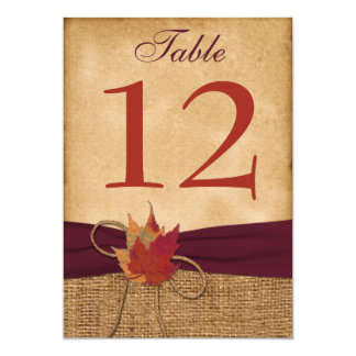 """HEAVY DUTY FAUX Burlap Table Number Card - Wine 5"""" X 7"""" Invitation Card"""