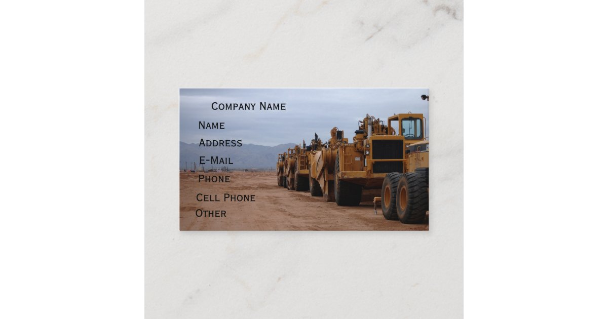 Heavy Equipment Business Card | Zazzle.com