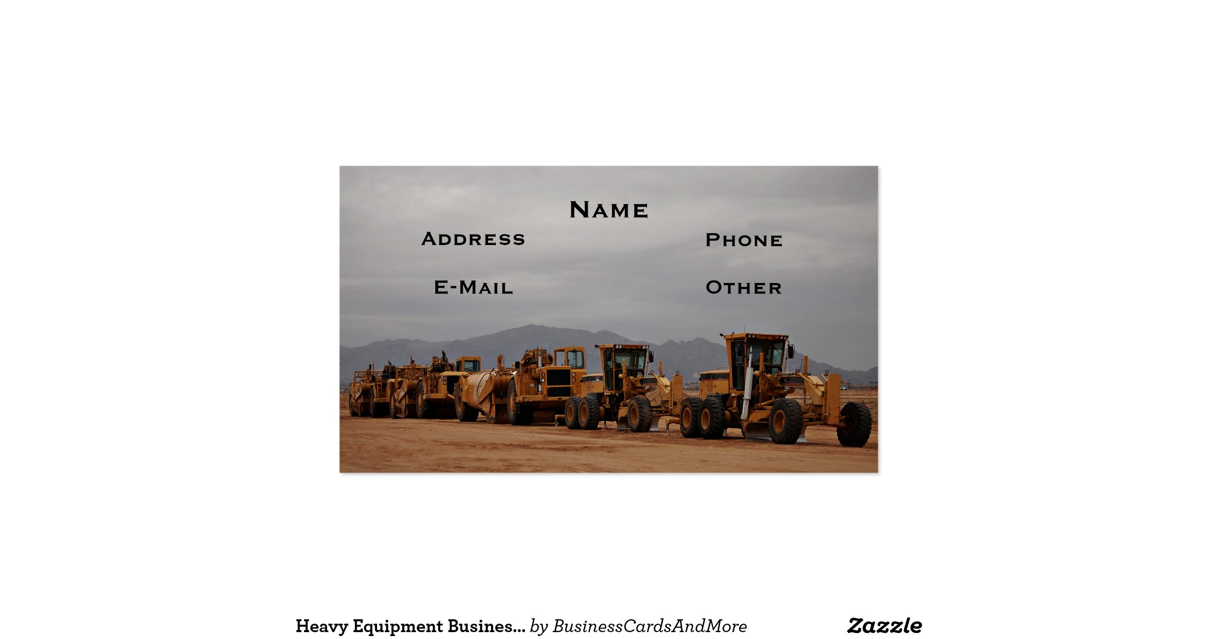 Heavy equipment business card for Heavy equipment business cards