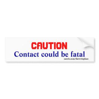 Heavy equipment caution bumper stickers