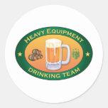 Heavy Equipment Drinking Team Round Stickers