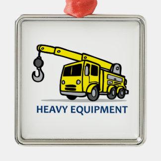 Heavy Equipment Square Metal Christmas Ornament