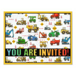 "Heavy Equipment Theme Kids Party Invitation 4.25"" X 5.5"" Invitation Card"