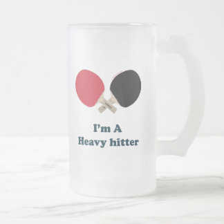Heavy Hitter Ping Pong Frosted Glass Beer Mug