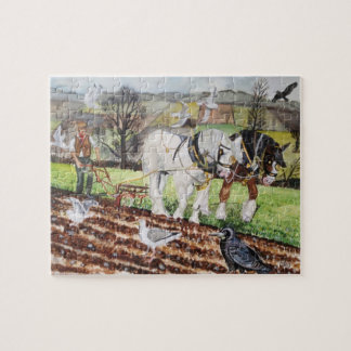 Heavy Horses Ploughing in March Jigsaw Puzzle