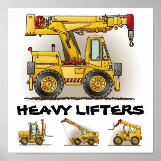 Heavy Lifters Crane Truck Poster