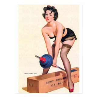 Heavy Lifting Pin Up Postcards