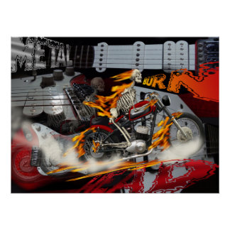 Heavy Metal Bike Rider Burn Poster