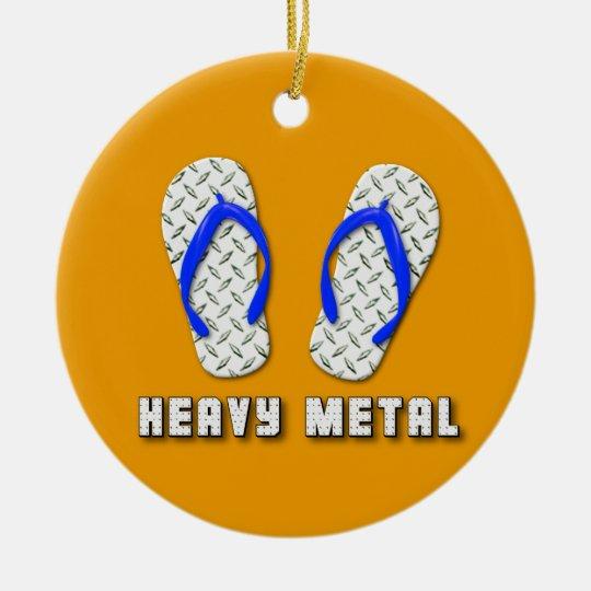 Heavy Metal Diamond Plated Flip Flops Ceramic Ornament
