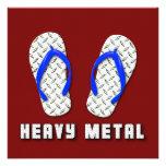Heavy Metal Diamond Plated Flip Flops Invitations