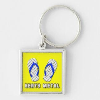 Heavy Metal Diamond Plated Flip Flops Key Chains