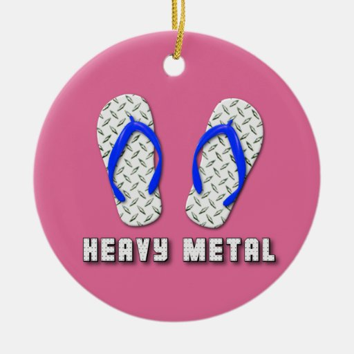 Heavy Metal Diamond Plated Flip Flops Double-Sided Ceramic Round Christmas Ornament