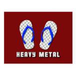Heavy Metal Diamond Plated Flip Flops Postcard