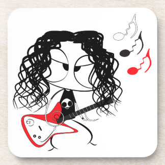 Heavy metal doll beverage coaster