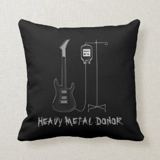 Heavy Metal Donor Music Throw Pillow