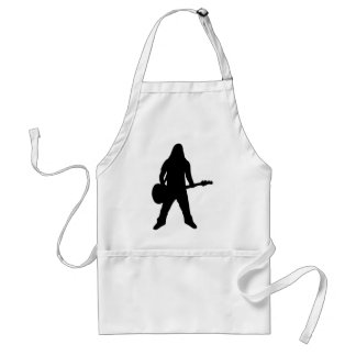heavy metal guitar player adult apron