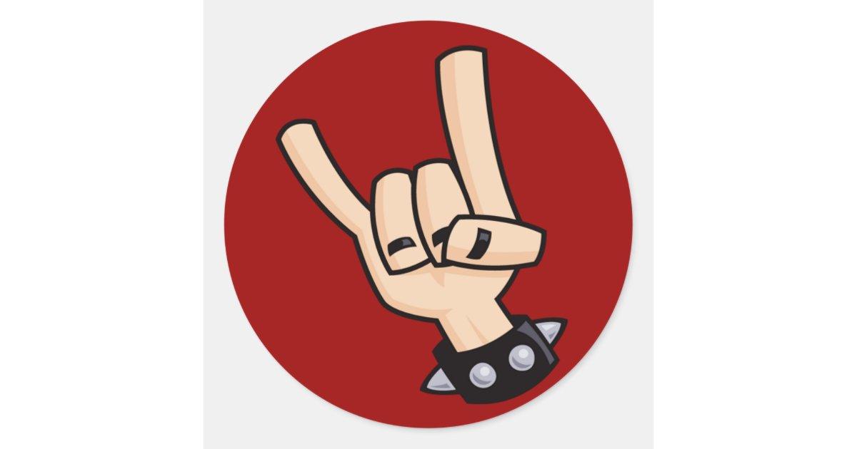 Heavy metal hand sign classic round sticker | Zazzle.com