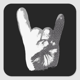 Heavy Metal Hand Sign Square Sticker