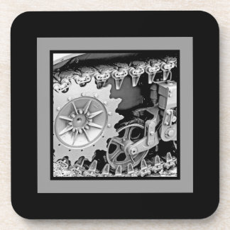 Heavy Metal in Gray and Black Plaid Beverage Coaster