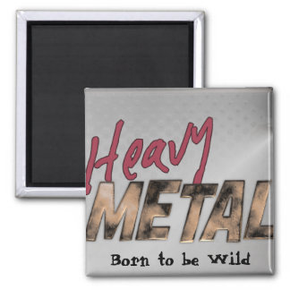 Heavy Metal metallic design 2 Inch Square Magnet