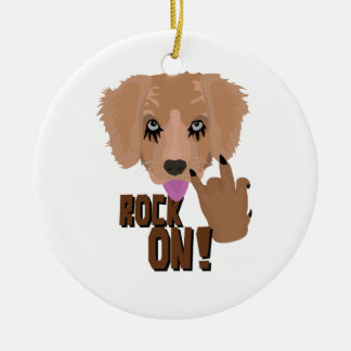 Heavy metal Puppy rock on Ceramic Ornament