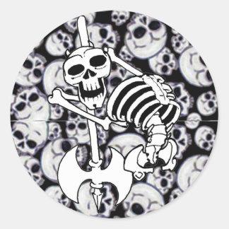 Heavy Metal Skeleton Classic Round Sticker