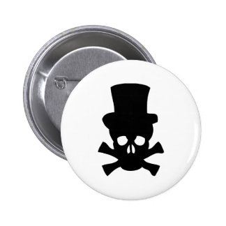 Heavy Metal Skull with Top hat Button