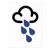 Heavy Rain: Retro weather forecast symbol Postcard