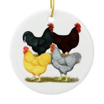 Heavy Rooster Chicken Quartet Ceramic Ornament