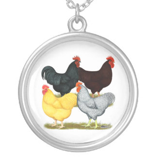 Heavy Rooster Chicken Quartet Personalized Necklace