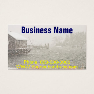 Heavy Snowstorm in Bass Harbor, Maine Business Card