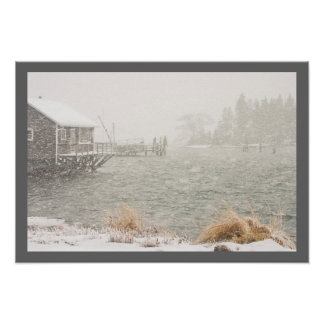 Heavy Snowstorm in Bass Harbor, Maine Poster