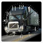 Heavy Transport Black Cargo Truck Art Wall Clock