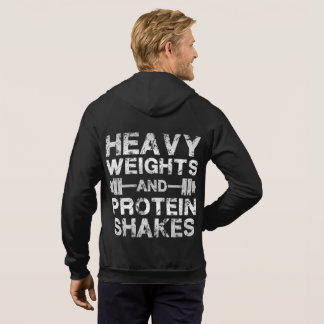 Heavy Weights and Protein Shakes - Gym Workout Hoodie