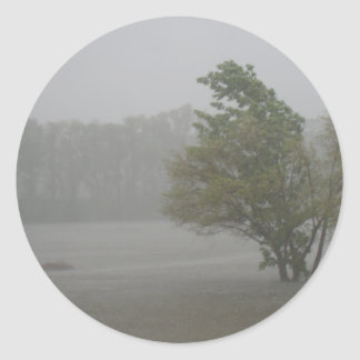 Heavy Windy Storm over a already Flooded Lake Classic Round Sticker
