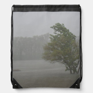 Heavy Windy Storm over a already Flooded Lake Drawstring Bag