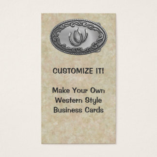 Hebilla de plata occidental tarjetas de visita