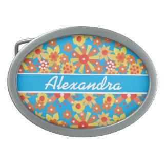 Hebilla del cinturón a personalizar: Flores Hebillas Cinturón Ovales