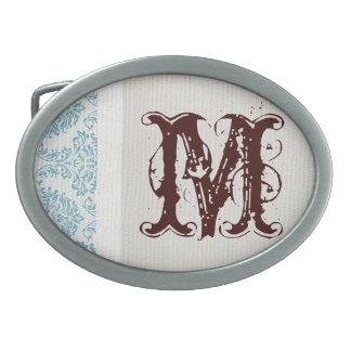 Hebilla del cinturón afiligranada azul del damasco hebillas de cinturon ovales