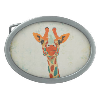 Hebilla del cinturón ambarina de la jirafa que mir hebillas de cinturón ovales