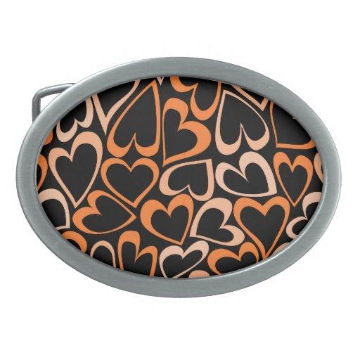 Hebilla del cinturón anaranjada de los corazones hebillas cinturon