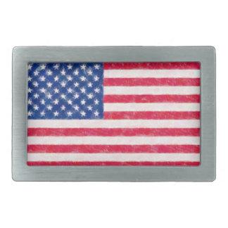 Hebilla del cinturón apenada de la bandera america hebillas de cinturón rectangulares