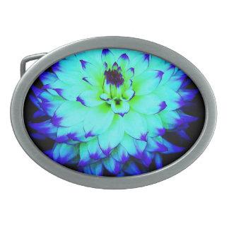 Hebilla del cinturón azul de la flor hebillas de cinturon ovales
